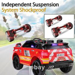 Electric 12V Ride On Police Car Kids SUV Toys RC Car with Remote & Music Red