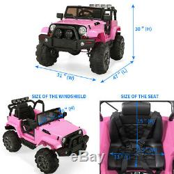 Electric Car Kids Ride On Truck Toy 12V Battery Powered WithRemote Control Pink