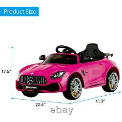 Electric Kids Ride On Car Mercedes Benz AMG GTR Motorized Vehicles RC LED Pink