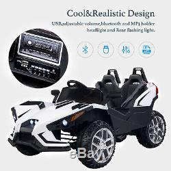 Electric Kids Ride on Toys 12V Battery Racing Car WithRC Light Truck Music White