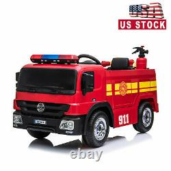 Fire Truck 12V Kids Ride on Car 3 Speed Battery Powered Water Tank withRC KidsGift