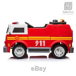 Fire Truck 12V Ride on Car 2 Seats with 2.4G Remote Control, Water Tank & Intercom