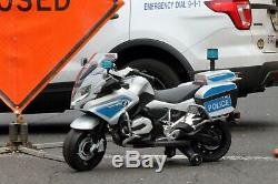 First Drive BMW Police Motorcycle White 12v Kids Ride On Toy Electric Motor NEW