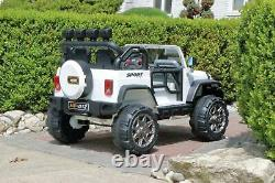 First Drive Jeep 2 Seater White 12v Kids Electric Ride-On Toy Car AWD MP3
