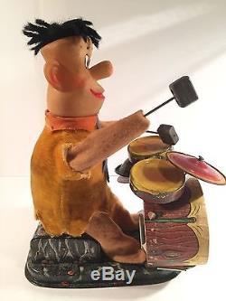 Fred Flintstone Bedrock Band Tin Battery Operated Vintage Alps Japan 1962 WORKS