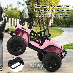 Honeyjoy 12V Kids Ride On Truck RC Motorized Car with Spring Suspension&MP3 Pink