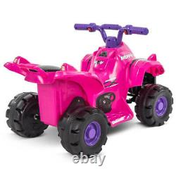 Huffy 6V Quad Ride on Toy for Kids Pink Trailer & Toy Blocks Included