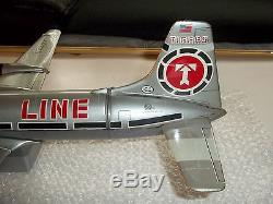 INCREDIBLE 1950's 100% FUNCTIONAL Marx Battery Operated Swing Tail Tin Plane
