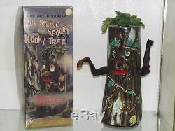 Japan Marx Kooky Spooky Whisling Tree Tin Battery Operated Toy + Repro Box