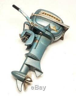K&O Evinrude Big-Twin Outboard Motor Mini Toy Boat Blue Japan Vintage Original