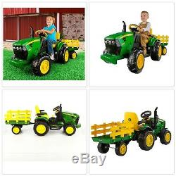 Kids 12V John Deere Ground Force Tractor Ride-On Toy Trailer FM Radio PEREGO