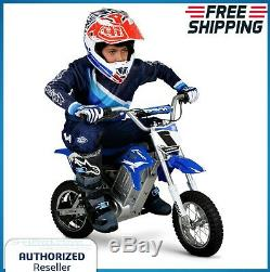 Kids Dirt Bike Motorcycle Electric 24 Volt Battery 14 MPH Blue Children Play Toy