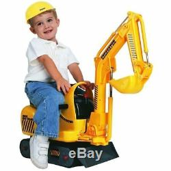 Kids Electric Digger Micro Excavator Ride On Toy With Hard Hat Battery Operated