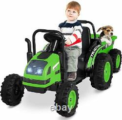Kids Electric Ride On Tractor with Trailer withDetachable Wagon withRC Green