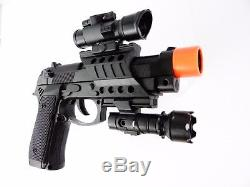 Kids Plastic Toy Police Gun 9mm Set Battery Operated With Orange Tip & Silencer