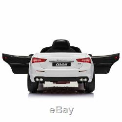 Kids Ride On Car Maserati 12V Rechargeable Toy Vehicle Remote Control MP3 White