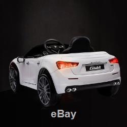 Kids Ride On Car Maserati License 12V Rechargeable With MP3 / Remote White