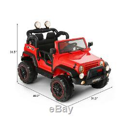 Kids Ride On Car Red Truck Toy 12V Electric Battery Music LED Remote Control New