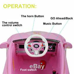 Kids Ride On Electric Car with LED Light Remote Control 3 Speed MP3 Music 6V Pink