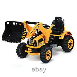 Kids Ride On Excavator Truck 12V Battery Powered With Front Loader Digger Yellow