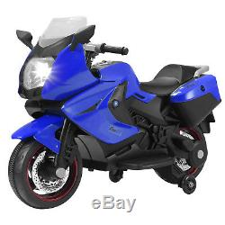 Kids Ride On Motorcycle 12V Electric Power Wheel Toys with Training Wheels Blue