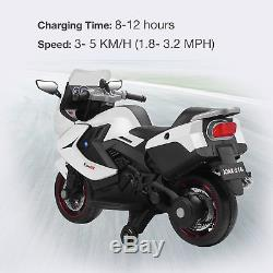 Kids Ride On Motorcycle 12V Electric Power Wheel Toys with Training Wheels White