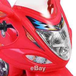 Kids Ride On Motorcycle Toy Battery Powered Electric 3 Wheel Bicycle Red 6V