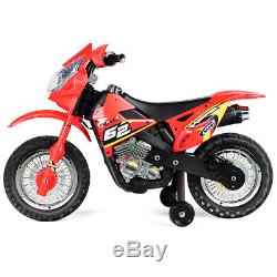 Kids Ride On Motorcycle with Training Wheel 6V Battery Powered Electric Toy New