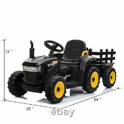 Kids Ride-On Tractor Vehicle with Trailer 6 wheels Music Bluetooth