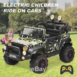 Kids Ride on Car Remote Control Power Wheels with MP3/ 3 Speeds Camouflage Green