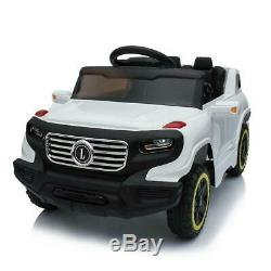 Kids Ride on Car Toys 3 Speed Rechargeable Battery Music Light withRemote White US