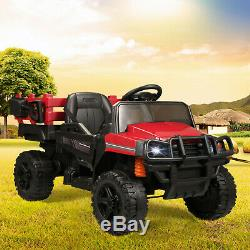 Kids Ride on Truck with Trailer, 12V Rechargeable Battery Agricultural Vehicle Toy