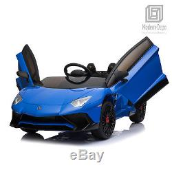 Licensed Lamborghini 12V Electric Kids Ride On Car with Remote Control MP3 -Blue