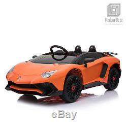 Licensed Lamborghini 12V Electric Kids Ride On Car with Remote Control MP3 Orange