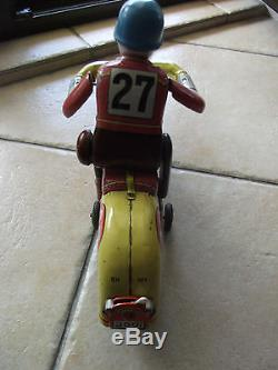 MASUDAYA Modern Toys Trade Mark Japan Motorcycle Action Tin Battery Operated