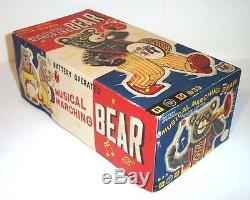 MIB 1950's BATTERY OPERATED MUSICAL MARCHING BEAR TIN LITHO TOY JAPAN ALPS MINT
