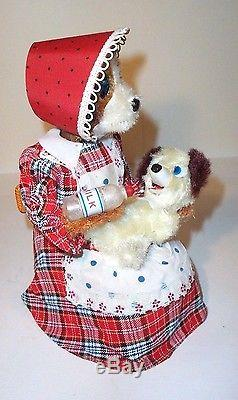 MIB 1950s BATTERY OPERATED HUNGRY HOUND DOG withBOX MINT MOTHER WITH PUP TOY JAPAN