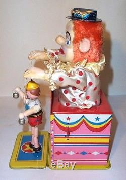 MIB 1960s HAPPY THE CLOWN PUPPET SHOW BATTERY OPERATED TIN LITHO CIRCUS TOY MINT