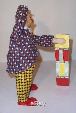 MINT 1950's BATTERY OPERATED CLOWN THE MAGICIAN TIN LITHO CIRCUS TOY ALPS JAPAN