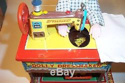 MINT 1950's BATTERY OPERATED DOLLY SEAMSTRESS TIN LITHO SEWING MACHINE TOY MIB