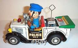 MINT 1950's BATTERY OPERATED POLICE CAR TIN LITHO TOY T-N Co. NOMURA JAPAN MIB
