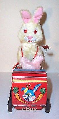 MINT 1950's BATTERY OPERATED RABBITS CARRAIGE TIN LITHO TOY BABY BUNNY MIB
