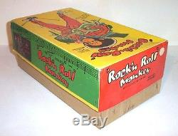 MINT 1950's BATTERY OPERATED ROCK'N' ROLL MONKEY TIN LITHO TOY ALPS JAPAN MIB