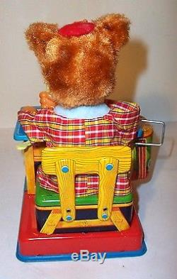 MINT 1950's BATTERY OPERATED TEDDY THE ARTIST BEAR TIN LITHO TOY JAPAN working