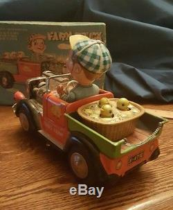 MINT 1950's JOHN'S FARM TRUCK BATTERY OPERATED TIN LITHO TOY JAPAN with box