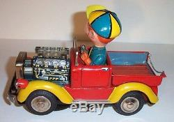 MINT 1950's JOHN'S FARM TRUCK BATTERY OPERATED TIN LITHO TOY JAPAN works great