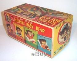 MINT 1950's LINEMAR BATTERY OPERATED SLEEPING BABY BEAR TIN LITHO TOY JAPAN MIB
