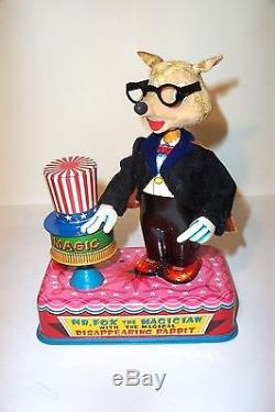 MINT 1960's BATTERY OPERATED MR. FOX THE MAGICIAN TIN LITHO MAGIC TOY MIB JAPAN