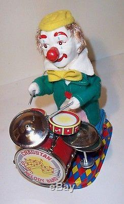MINT 1960s BATTERY OPERATED CHARLIE THE DRUMMING CLOWN TIN LITHO MUSICAL TOY MIB