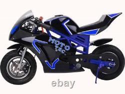MotoTec Gas Pocket Bike GT 48.9cc 2-Stroke Blue Kids 20 MPH Disc Brakes Fr, Rear